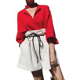 [リュハイ] 七分袖Tシャツ ショートパンツ 上下セット パンツスーツ レディース 夏 ファッション セットアップ OL 通勤 トップス パンツ セット(S~3XL) レッド+ホワイト2XL