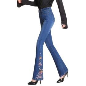 (フッカツ)ブーツカットジーンズ デニムパンツ 秋冬 刺繍 ハイウェスト ロング丈 美脚 ポケット付き タイト大人 きれいめ ブルー26