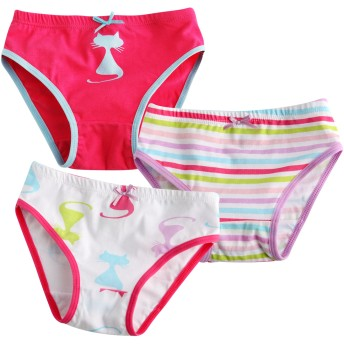 [Vaenait Baby] 2-9歳子供肌着綿100%キッズ女の子下着ブリーフ3枚組パンツショートボクサー Cats Pop M (4-5歳)