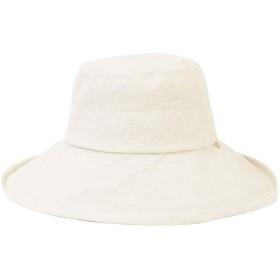 杢アイボリーB F (ディーループ)D-LOOP チャーム付き ワイヤー入り つば広 ハット レディース UV カット 加工 女優帽 小顔効果 紫外線 対策 日よけ 日除け おしゃれ つばひろ つば広め 帽子 つば広帽子 春夏 春物 夏物 女性用 女性 122212-010-948