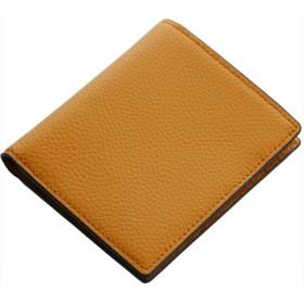 [ Mia Borsa ] レザー 本革 縦型 二つ折り 財布 両カード入れ メンズ : キャメル