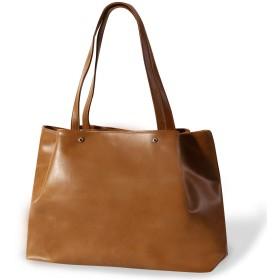 [REOTTI] トートバッグ A4対応 通勤バッグ 無地 軽量 大容量 多収納ポケット レディース ブラウン