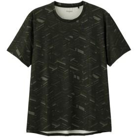 (GU)クルーネックT(半袖)(ジオメトリック)GS BLACK L