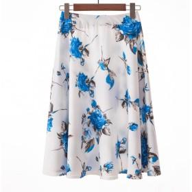 [美しいです】ロングスカートデジタルプリントプリーツスカートスカートスカートスカート女性スカート (S, 花14)