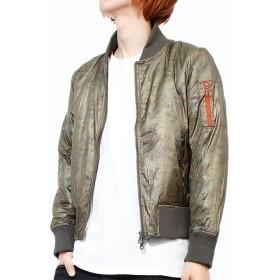 RICEND(リセンド) MA-1 メンズ ジャケット ミリタリー ナイロン カモフラ 迷彩 ブルゾン M カーキ