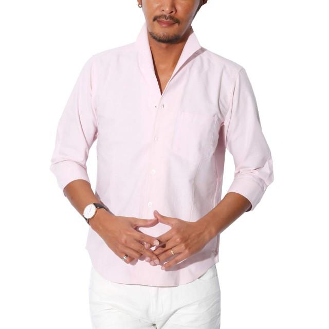 LUX STYLE(ラグスタイル) シャツ メンズ イタリアンカラー トップス 7分袖 綿 無地 ピンクXL