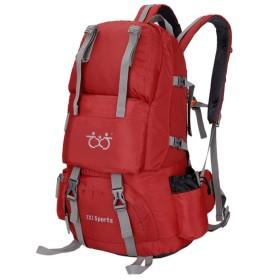 登山リュック 40L バックパック 大容量 リュックサック 防災 防水 旅行用アウトドアリュック 多機能 通気 独立靴用コンパート 防水 レインカバー付き 4色 (赤)