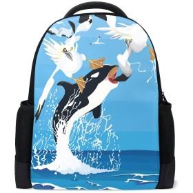 AOMOKI バッグ リュックサック 男女兼用 旅行 大容量 鳥 シャチ