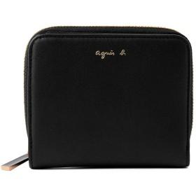 [名入れ可] agnes b. VOYAGE アニエスベー ボヤージュ レザー ウォレット 本革 二つ折り 財布 AW11C-06 ショップバッグ付 (名入れなし, ブラック)