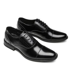 Agustin JP ビジネスシューズ 革靴 本革 メンズ 紳士靴 防滑 通気性 軽量 AG-3(ブラック、ブラウン)24.5cm-27.0cm (27, ブラック)
