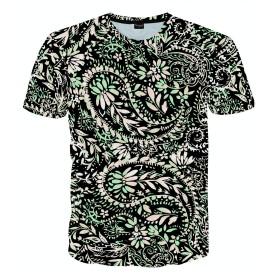 Pizoff(ピゾフ) メンズ Tシャツ 半袖 カワイイ 3Dプリント ペイズリー柄 ゆったり カジュアル 男女兼用 カットソーAC145-57-XL