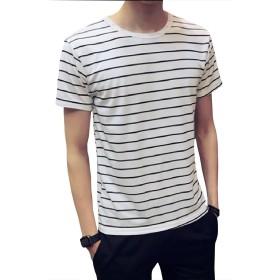 (ナンディン) nandin メンズ おしゃれ ボーダー 半袖 Tシャツ トップス カットソー シンプル 丸首 クールネック (ホワイト, 4XL)
