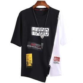 Sukinana 夏服 メンズ Tシャツ 半袖 ヒップホップ ストリート HIPHOP コットン100% カットソー カジュアル ファション 軽い 吸汗速乾 (X-Large, ブラック)