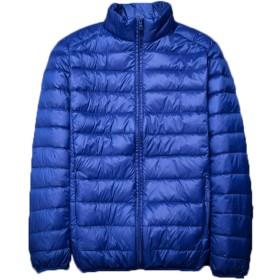 青空販売 メンズ 秋冬 軽量 ダウンジャケット コート スタンドカラー (XXL, ブルー)