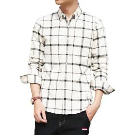 シャツ メンズ 長袖 チェック柄 折り襟 ボタンダウン 多色 クールビジ カジュアルシャツ ホワイト・グレー チェック XL