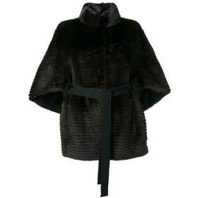 Liska ファートリム コート - ブラック