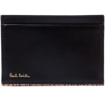[名入れ可] ポールスミス Paul Smith パスケース カードケース ストライプポイント カード入れ ショップバッグ付き PSC751 (名入れなし, ブラック)