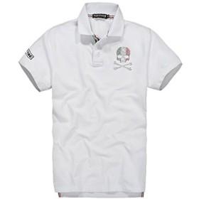 (スカルシリーズ) ポロシャツ スカル ドクロ SKULL XZY1401 XXLサイズ ホワイト 鹿の子半袖 ゴルフウェア ラインストーン バックプリント