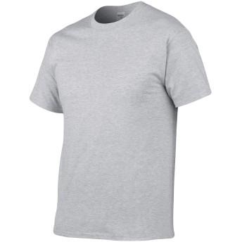 ビエスディディ メンズ 全18色 コットン 無地 クルーネック カジュアル 半袖 ルーズ Tシャツ グレー M
