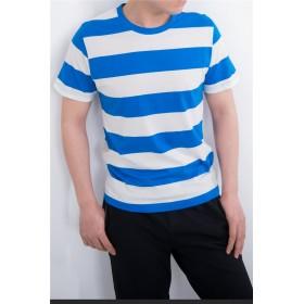 X.N.S(希望) メンズ Tシャツ 半袖 ボーダーTシャツ サマー コットン (XXL, ホワイトブルー)