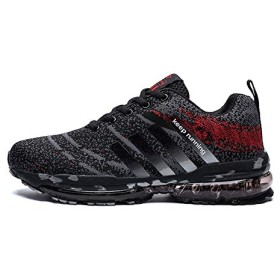 [Damyuan] スニーカーのメンズのレディースは通勤します学校へ行くスポーツの新型のとても軽い量の通気性の滑るのを防ぐクッション性運動靴のランニングトレーニングの23―28.5cm (40, ブラックレッド)