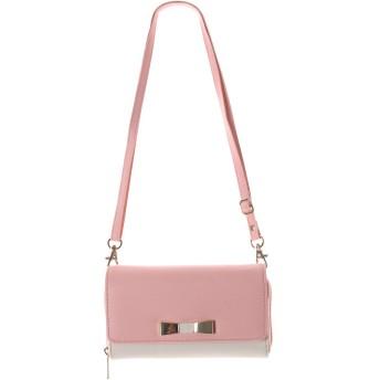 お財布ポシェット スマホショルダー ショルダーウォレット レディース 財布 Fサイズ ピンク×アイボリー(31)