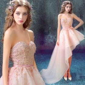 舞台衣装 ビスチェドレス パーティードレス ミニドレス ビスチェタイプ 結婚式二次会 撮影 大きいサイズ トレーン ピンク レース