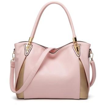 Msy yien レディース ハンドバッグ 2WAY 本革 シンプル 斜めがけバッグ OL 通勤 バッグ ハンドメイド 大容量 おしゃれ ショルダー バッグ (ピンク)