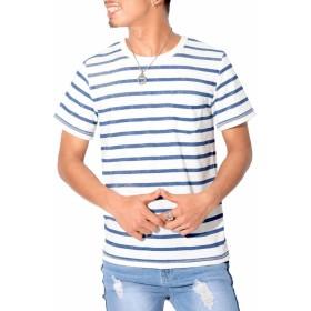 LUX STYLE(ラグスタイル) Tシャツ メンズ 半袖 ボーダー ポケット パイル トップス 夏 ホワイト×ネイビーM