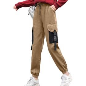 レディース カーゴパンツ ポケット付き カーキいろ ズボン 美脚 カジュアル かっこいい 運動着 スリム 春 夏 ハイウエスト 秋 着痩せ 細身 M~XL 通勤 テーパード ダンスパンツ ロングパンツ トラックパンツ 作業ズボン