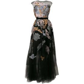 Talbot Runhof フローラル ドレス - ブラック
