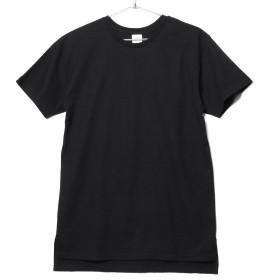 [エムエイチエー] M.H.A.style ロング丈 Tシャツ 5.6オンス 無地Tシャツ 半袖Tシャツ 10038 C.ブラック