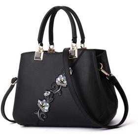 ハンドバッグ ショルダーバッグ 女性レザーカバン 革鞄 婦人カバン ファスナー ギフト 母の日プレゼント財布 収納小物 レディース (ブラック)