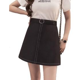 【Shop マーズ】ハイウエストスリムスカートヒップスカート、デニム黒のスカート (S, ブラック)
