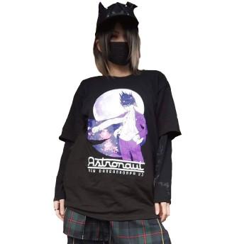 ダンガンロンパ リッスンフレーバー Tシャツ レディース ビッグ 大きい 原宿 青文字 百田解斗 アニメ DRLH-00139 (ブラック)