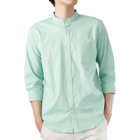 (モノマート) MONO-MART 7分袖 プレミアム 綿麻 リネン シャツ リネンシャツ ストレッチ メンズ (バンドカラー) ライトグリーン杢Mサイズ