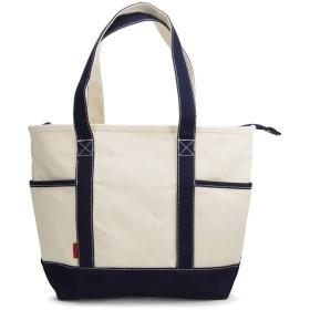 (Marib select) 16oz厚手 トートバッグ キャンバス 帆布 トート ファスナー A4 大容量 ちょうどいいサイズ メンズ レディーズ #c383 (アイボリーxネイビー)
