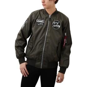 [REPIDO (リピード)] MA-1 ミリタリージャケット ワッペン アウター ジャケット メンズ ブルゾン ライトツイル カーキ Mサイズ