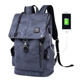 Xinbeauty USB充電ポート大容量防水バックパック(迷彩グレー)ブラックフライデーとのビジネスバックパック通勤メンズ人気のバックパック カモフラージュグレー