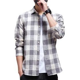 シャツ 長袖 メンズ ギンガムチェック ネルシャツ カジュアル おしゃれ 大きいサイズ ストライプ スリム シャツGlestore(グラストア)グレーM