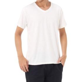 [アズールバイマウジー] Tシャツ スラブパイル Vネック 半袖T メンズ ホワイト L