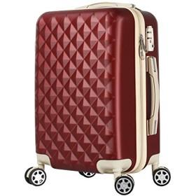 BASILO-012 キャリーバック スーツケース キャリーケース 人気 かわいい Mサイズ 48L 4~7日用 TSA キルト風 (ワインレッド, m)