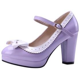 [KITTCATT] レディースパンプス メリージェーン 靴 レディース 靴 ロリータ 可愛いシューズ エナメルシューズ リボンシューズ ハイヒール8cm 甲ストラップ パンプス ラウンドトゥ ストラップ サイズ:(23cm,パープル)