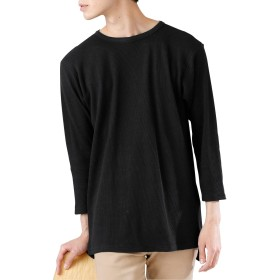 (モノマート) MONO-MART ロング丈 ワッフル Tシャツ カットソー ヘムライン 7分袖 ゆるシルエット MODE メンズ クルーネック ブラック Lサイズ