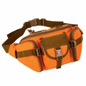 (フェニックス一輝) Phoenix Ikki 大容量 充実ポケット iPad mini 収納可 迷彩 防水加工 通気性良 旅行 登山 ハイキング ランニングに最適 多機能ウエストバッグ 運動向けポーチ 軍事的ベルト オレンジ