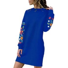 女性ドレスカジュアル花プリントロングスリーブクルーネックルーズジャンパー Blue XL