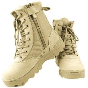 alohapi SWAT タクティカル ブーツ サイド ジッパー 式 ミリタリー ブーツ ジャングル ブーツ (09. ベージュ 24.5cm)