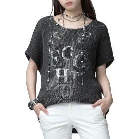 SPECCHIO(スペッチオ) シャトルプリーツ モノトーンプリント スパンコール刺繍 テールカット ブラウス