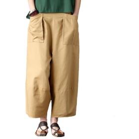 Aeneontrue レディース ロングパンツ ワイドパンツ ゆったり 無地 リネン カジュアル パッチワーク加工 ウェストゴム 大きいポケット パンツ おしゃれ ズボン カーキ M