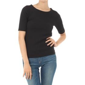 [アズールバイマウジー] tシャツ ナローリブ5分袖T レディース ブラック S